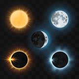 Sun moon eclipses. Vector illustration Royalty Free Stock Photo