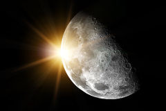 Sun and moon - Elements of this image furnished by NASA. Moon and earth in space Royalty Free Stock Photos