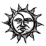 Sun and moon face sketch Royalty Free Stock Photos