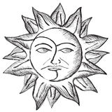 Sun and moon face sketch vector illustration