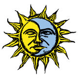Sun and moon face sketch Royalty Free Stock Photography