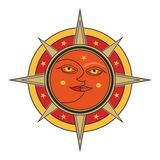 Sun and moon face vector allegory isolated on white background. Sun and moon face traditional oriental india sign - day and night vector allegory isolated on Royalty Free Stock Image