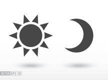Sun and moon flat icon. Vector logo for web design, mobile and infographics. Sun and moon flat icon. Sign sun and moon. Vector logo for web design, mobile and