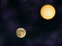 Sun and moon. In front of a black sky with stars Royalty Free Stock Images