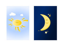 Sun and moon (II). Cartoon sun and cartoon (half) moon on blue background royalty free illustration