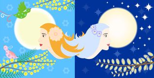 Sun and moon. Illustration - concept - on the theme of two opposites - night and day Royalty Free Stock Image