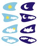Sun and moon isolated weather icons, clip art. Sun, moon and clouds - weather icons vector illustrations - clip art isolated on white background Royalty Free Stock Photo