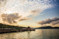 Sun moon lake. A beautiful evening view from the Ita Thao pier, Sun Moon Lake, Taiwan royalty free stock photo