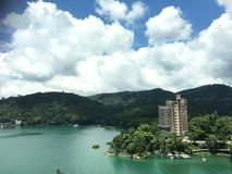 Sun moon lake. Cloud island water stock photos