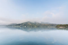 Sun Moon Lake. Landscape of famous Sun Moon Lake in the morning with mist in Taiwan, Asia royalty free stock photos