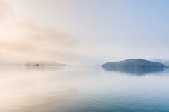 Sun Moon Lake. Landscape of famous Sun Moon Lake in the morning with mist in Taiwan, Asia stock photos