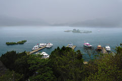 Sun Moon Lake. It is the largest lake in Taiwan and one of the most beautiful and most famous tour sites in Asia. Shaped like an irregular rhombus, the eastern stock images