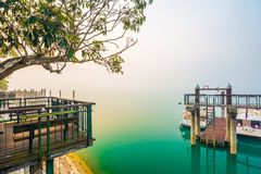 Sun Moon Lake at morning with fog. Taiwan Stock Images