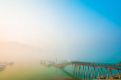 Sun Moon Lake at morning with fog Stock Image