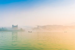 Sun Moon Lake at morning with fog Stock Images