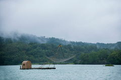 Sun Moon Lake in Nantou County, Taiwan fishing boat Royalty Free Stock Image