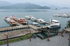 Sun Moon Lake Pier - April 11, 2015. Sun Moon Lake - April 11, 2015: Shuishe Pier at Sun Moon Lake on April 11, 2015 in Taiwan. This Pier is a famous place that Royalty Free Stock Image
