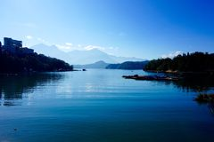 Sun Moon Lake. Riyuetan is divided into two parts, because one of the parts looks like the sun, and the other the moon, it is called Riyuetan Royalty Free Stock Photo