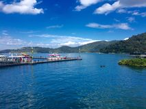 Sun Moon Lake. Riyuetan is divided into two parts, because one of the parts looks like the sun, and the other the moon, it is called Riyuetan Royalty Free Stock Photos