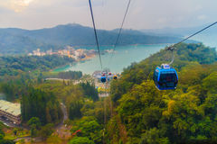 The Sun Moon Lake Ropeway is a scenic gondola cable car service Royalty Free Stock Image