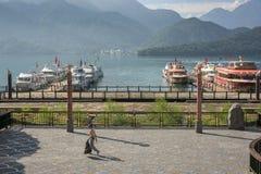 Sun Moon Lake's pier. Early morning at the pier of Sun Moon Lake, the beautiful lake in Taiwan Stock Photography