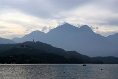Sun Moon Lake in Taiwan. Sun Moon Lake, Taiwan In the background are a buddhist temple and pagoda royalty free stock images