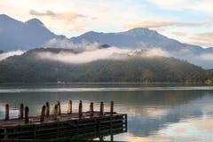 Sun Moon lake ,Taiwan. Mist in the Sun Moon Lake Royalty Free Stock Photo