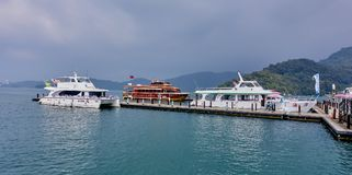 SUN MOON LAKE, TAIWAN - NOVEMBER 9, 2017: Tourist harbor on 9 No Stock Images