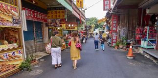 SUN MOON LAKE, TAIWAN - NOVEMBER 9, 2017: Tourist street at Sun Royalty Free Stock Photos