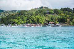 Sun moon lake. Tourists like to visit the beautiful attractions around the sun moon lake by boat cruise from Shuishe Pier to Ita Thao Pier, and then to Xuanguang royalty free stock image