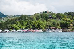 Sun moon lake. Tourists like to visit the beautiful attractions around the sun moon lake by boat cruise from Shuishe Pier to Ita Thao Pier, and then to Xuanguang royalty free stock photography