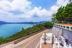 Sun Moon Lake view. With a rural road Royalty Free Stock Images