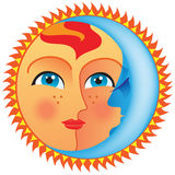 Sun and Moon like Day and Night in a circle. Good for design where you need to show day Day and Night or Sun and sleeping Moon Stock Images