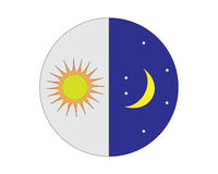 Sun and moon logo Stock Photos