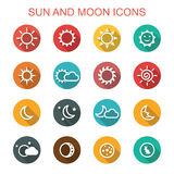 Sun and moon long shadow icons Stock Images