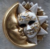 Sun and moon mask. A typical Mask - Carnival - Venice stock photos
