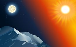 Sun and Moon with mountains relief Royalty Free Stock Image