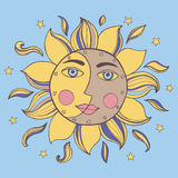 Sun and moon in one face. Royalty Free Stock Image