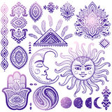 Sun, moon and ornaments vintage vector set Royalty Free Stock Images