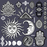 Sun, moon and ornaments vintage vector set Royalty Free Stock Photo