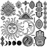 Sun, moon and ornaments vintage vector set Royalty Free Stock Photography