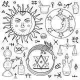 The Sun, Moon, Ouroboros and philosophical stone with other alch Stock Images