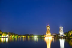 Sun and Moon Pagodas, Guilin, China Stock Photo