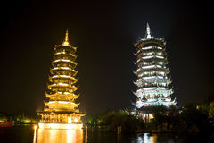 Sun and Moon Pagodas, Guilin, China Stock Image