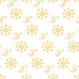 Sun and moon pattern on transparent background illustration Stock Photography
