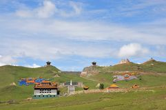 Sun Moon Pavilion. This beautiful place called Sun Moon Pavilion, in China's Qinghai Province, Qinghai Province, is a famous tourist attraction Stock Photo
