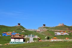 RI YUE Pavilion. This beautiful place called Sun Moon Pavilion, in Chinas Qinghai Province, Qinghai Province, is a famous tourist attraction Stock Photos