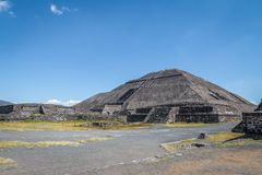 The Sun and Moon Pyramids at Teotihuacan Ruins - Mexico City, Mexico Stock Photography
