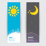 Sun and moon in sky, day and night. Stock Photography