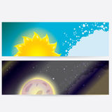 Sun and moon in sky, day and night. Stock Photo
